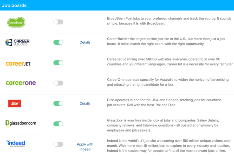 Niche job boards that are integrated with Zoho Recruit. Users can post their job adverts to these job boards and hire the right talent.