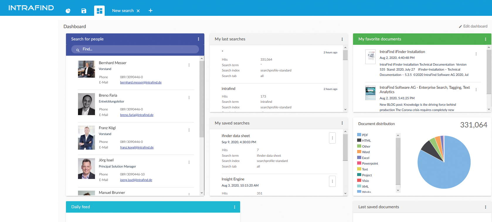 Dashboard: Save searches, favorite and share important documents easily