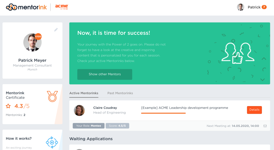 Mentor and mentee dashboard page