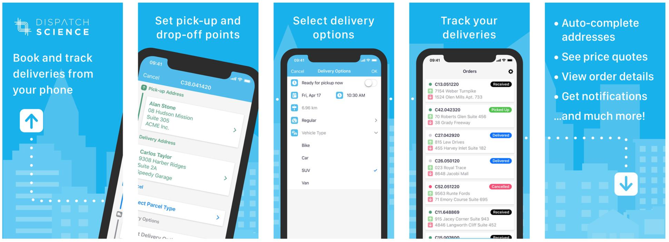 Dispatch Science Software - Customer mobile self-service order booking app