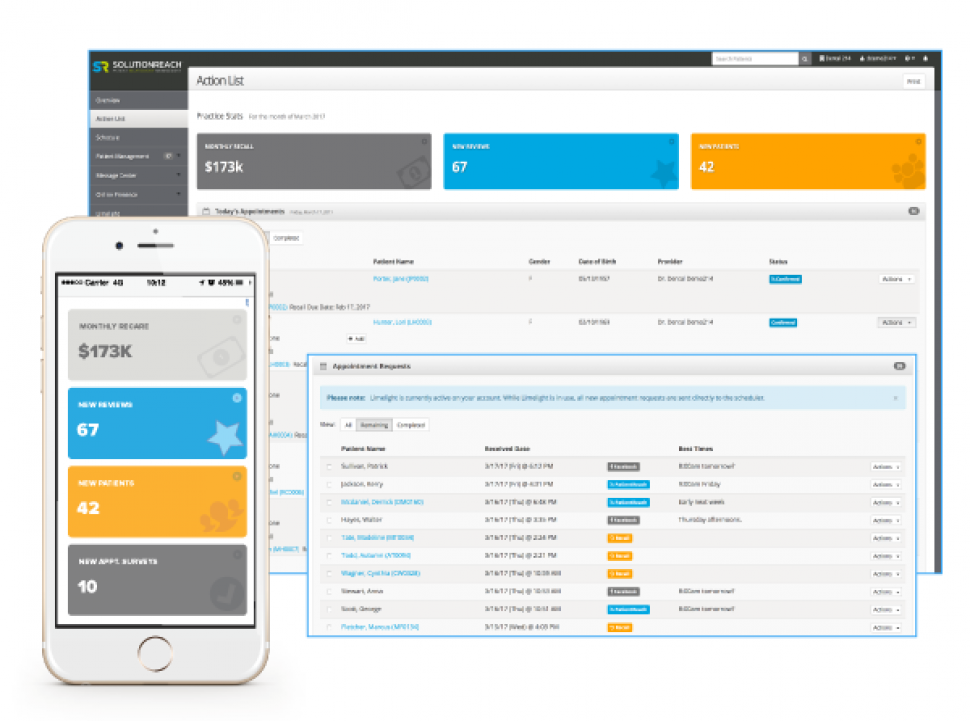 Solutionreach Software - Dashboard action list %>
