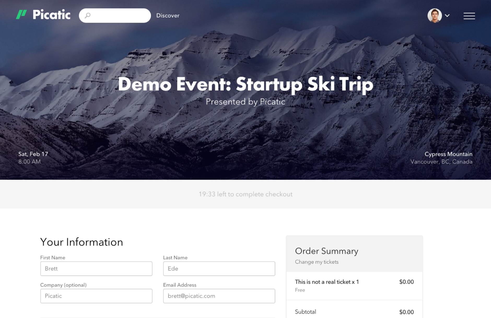 Picatic Checkout. One-step purchase checkout and ticket assignment makes it easy for your attendees to buy tickets.