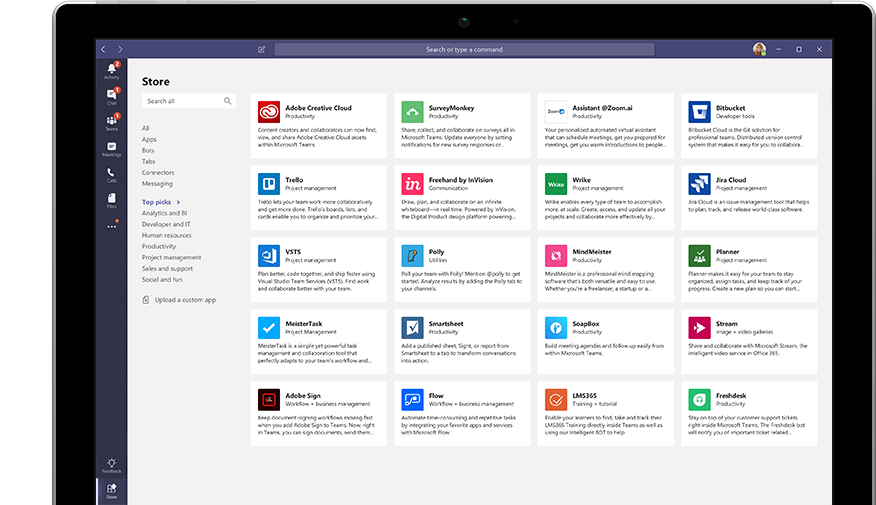 A range of apps can be integrated with Microsoft Teams