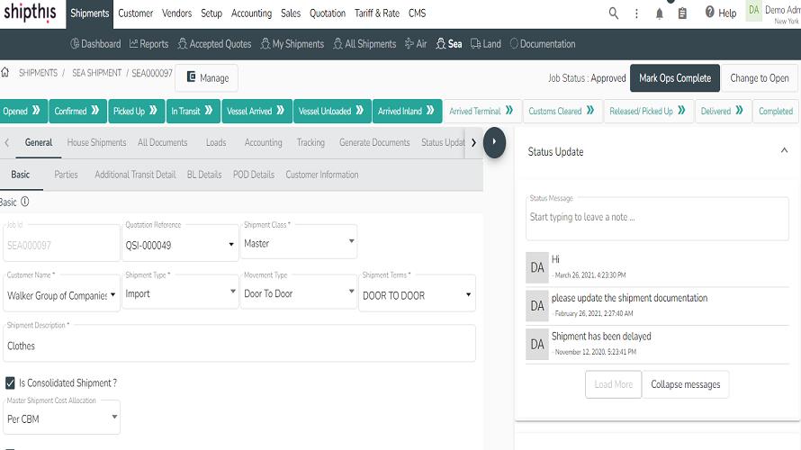 Shipthis screenshot: Shipment Workflow