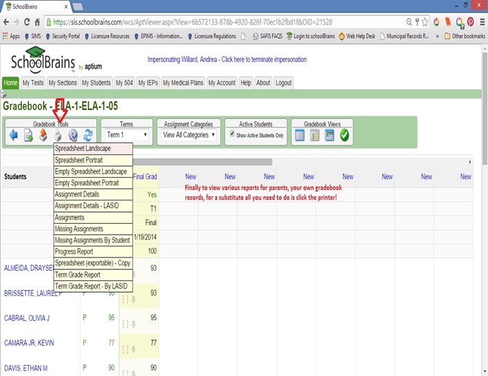 Extensive reporting capability in SchoolBrains allow parents and faculty to view gradebook records