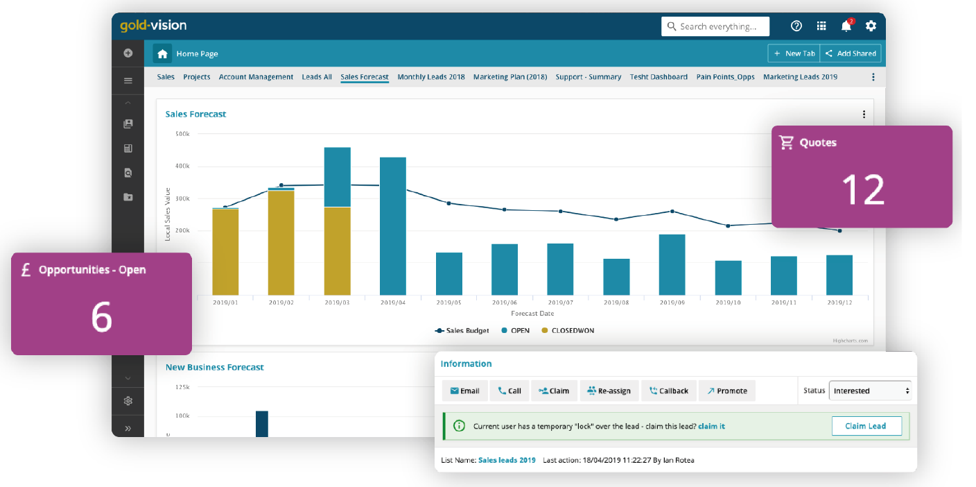 Gold-Vision CRM Software - Get better leads with alerting and automated workflows.