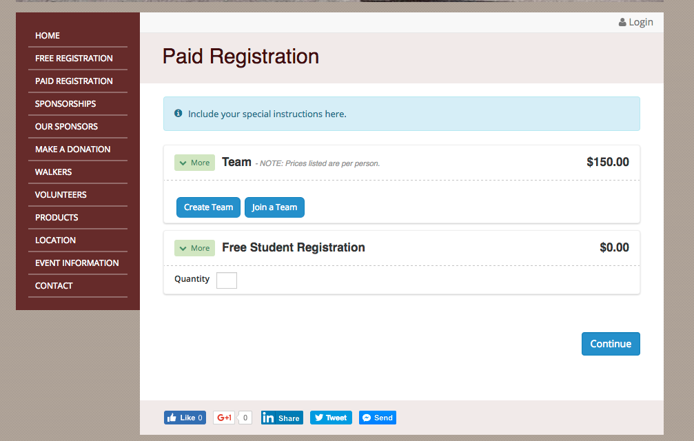 Free and paid registrations are supported, with customizable registration fees