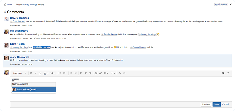 Confluence Software - Collaborate with your teammates using @-mentions and page comments