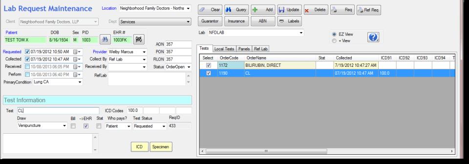Apex LIS test information screenshot