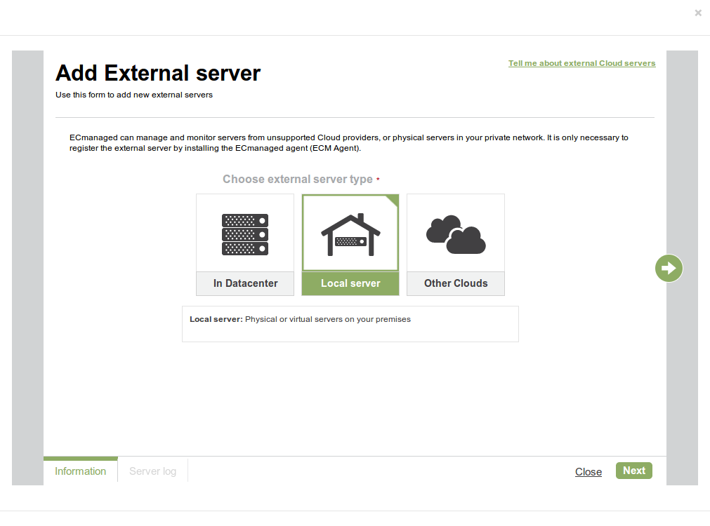 Manage & monitor servers from unsupported cloud providers with ECmanaged