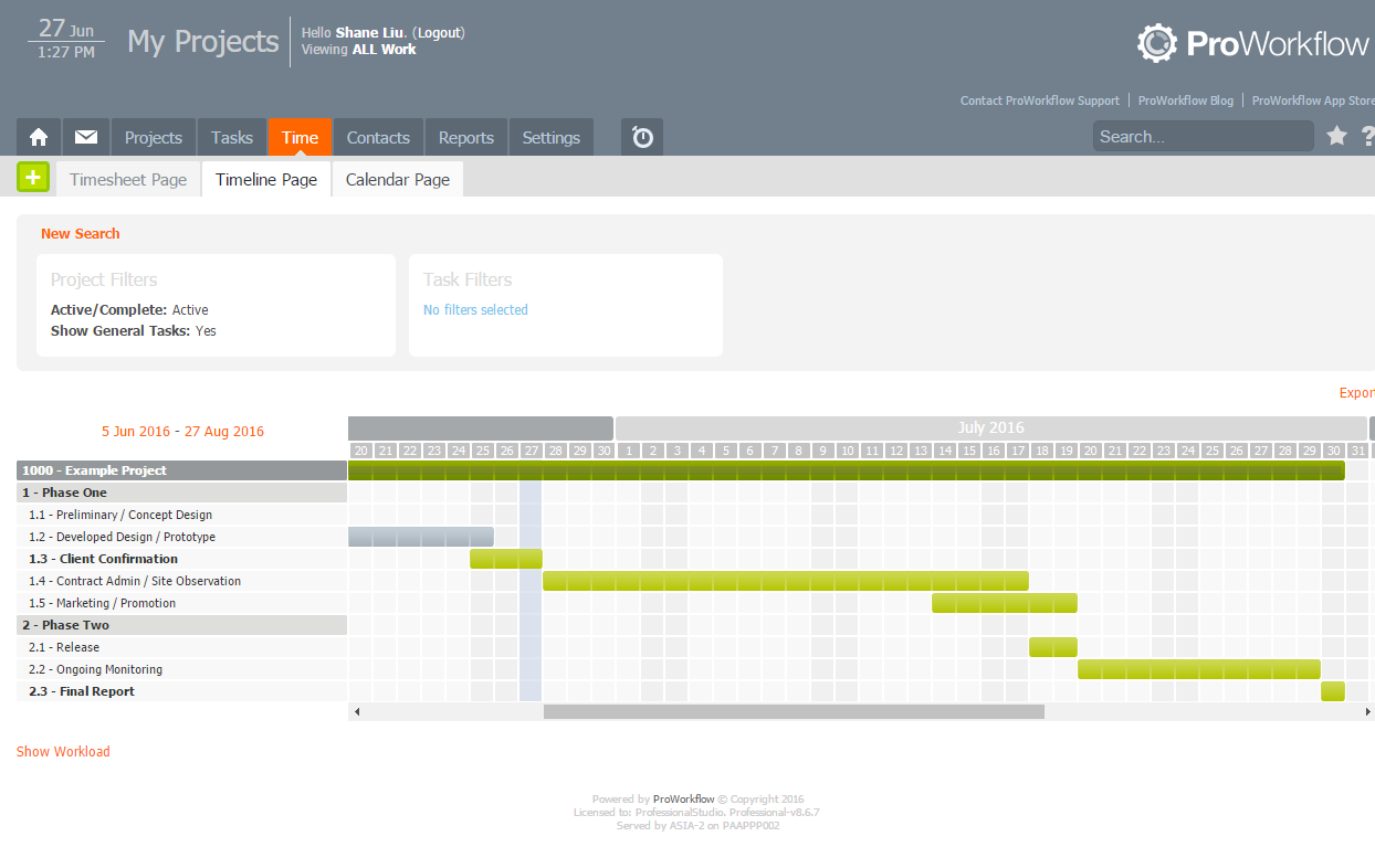 ProWorkflow's gantt styled timeline chart
