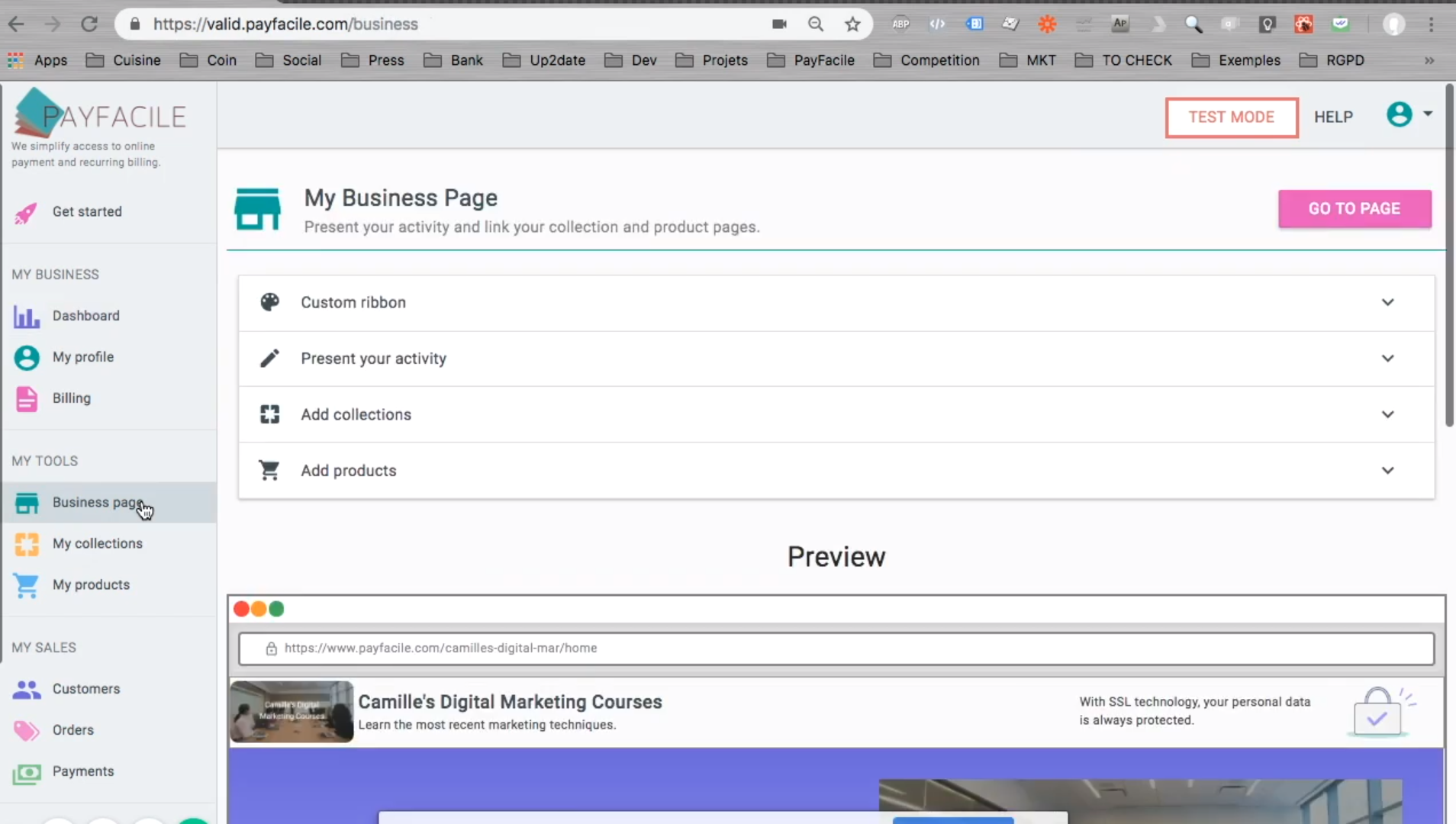Payfacile screenshot: Payfacile business page