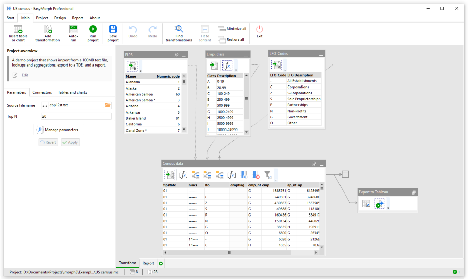 EasyMorph screenshot: EasyMorph combines data and workflow in a single view, providing a clear picture of transformation logic
