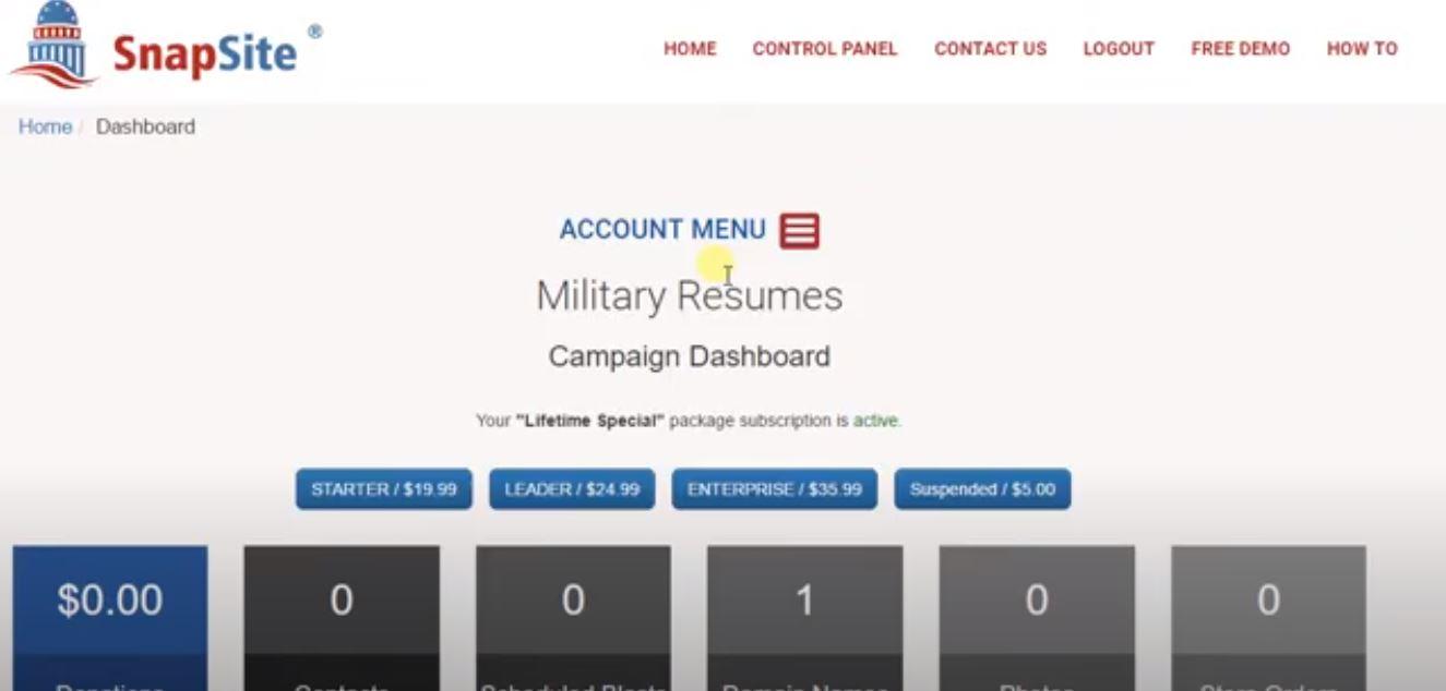 SnapSite.us campaign dashboard
