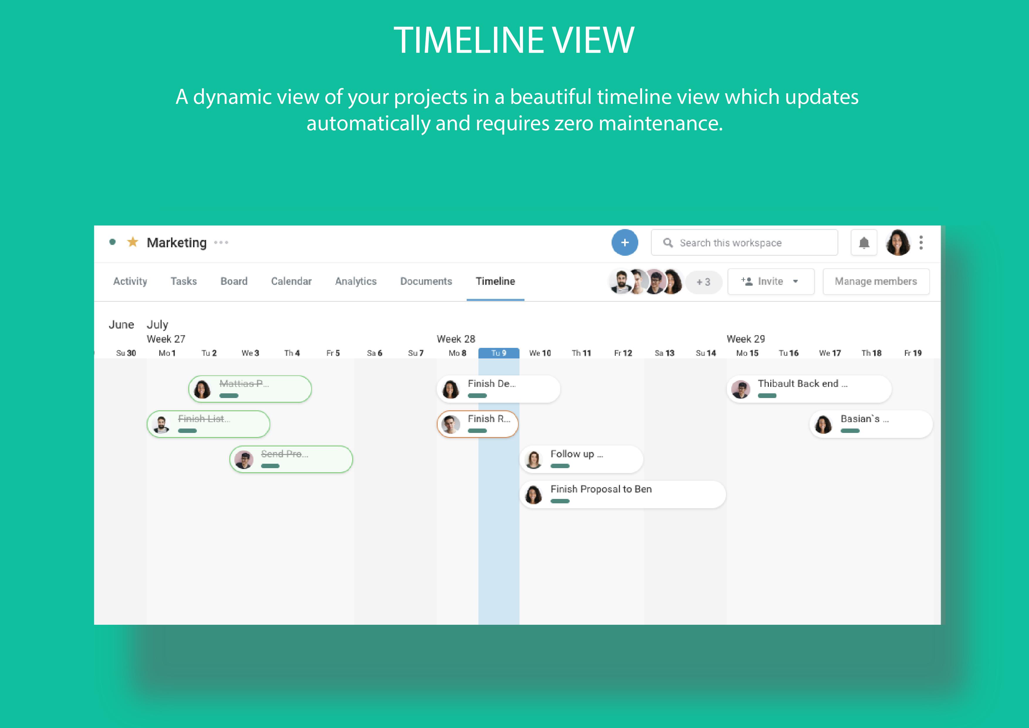Azendoo screenshot: Track teamwork across time visually
