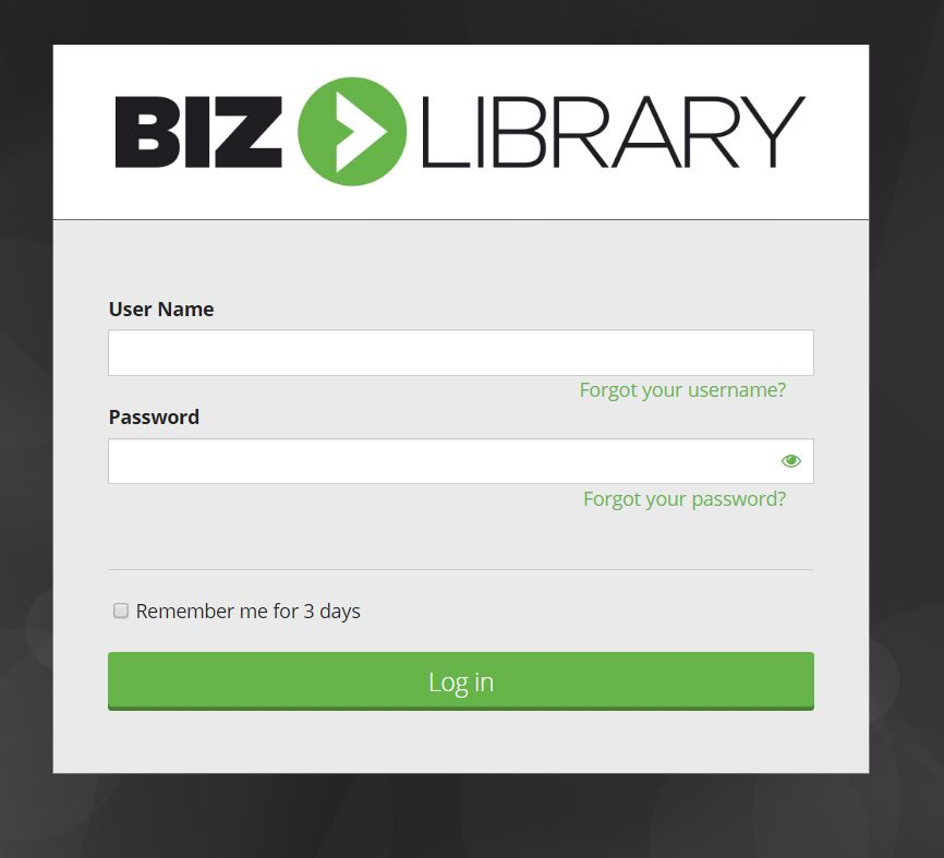 BizLibrary user login page