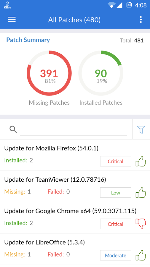 The patch summary displays missing, failed, and installed patches