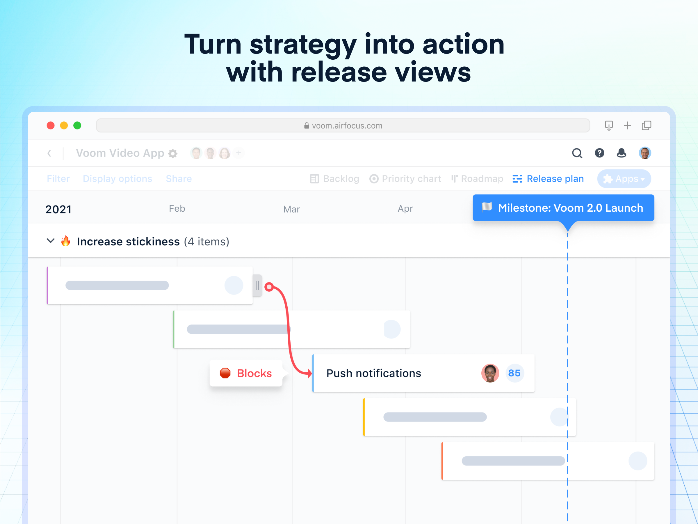 airfocus Software - Turn strategy into action with release views: Take a closer look at how your strategy is developing with a timeline view. Coordinate cross-team dependencies and remove blockers, ensuring a smooth process for everyone involved.