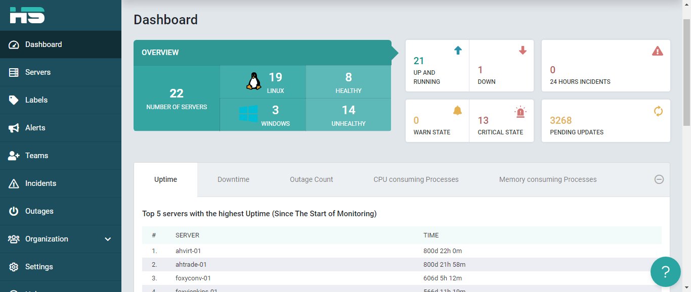 HealthyServers Primary Dashboard