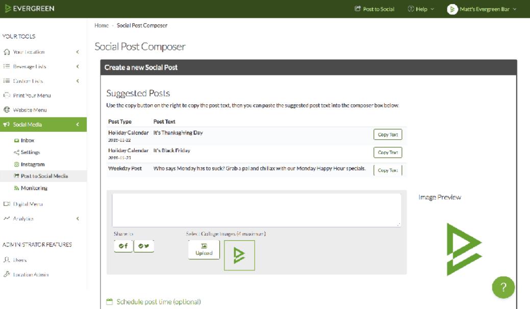 Evergreen Software - Evergreen social post composer