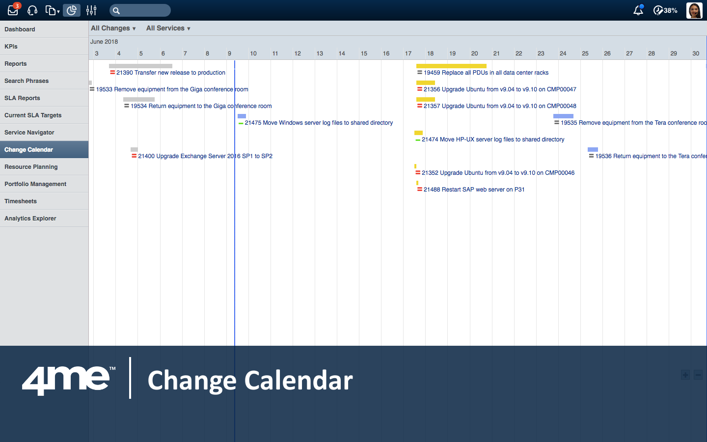 4me's change calendar automatically detects scheduling conflicts between changes.