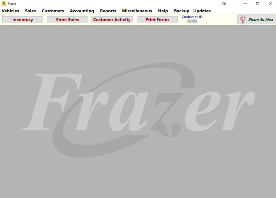 Frazer main interface