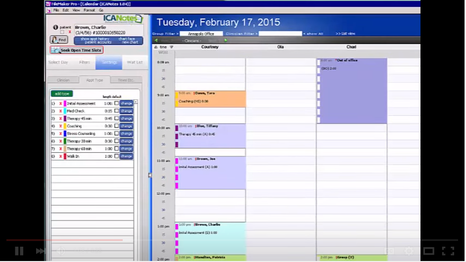 ICANotes appointment manager view that allows clinicians to manage their appointments