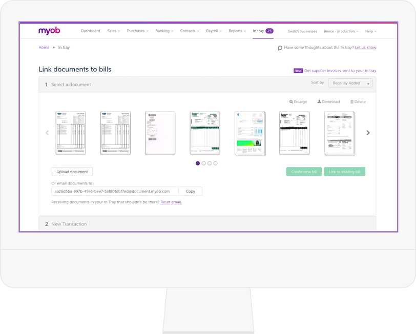 Automatically track and manage bills and expenses. Use the MYOB Capture app to take photos of receipts and send them straight to your software. Plus, you can upload bills (drag and drop) or email them straight to your software