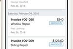 Captura de pantalla de FieldPulse: View open estimates and invoices as well as overdue outstanding invoices