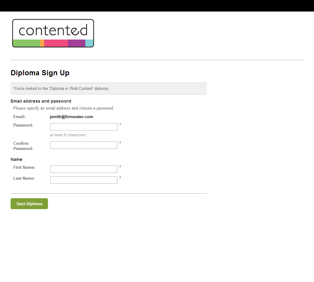 Simple sign-up process for course participants.