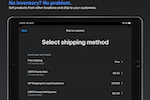 Shopify POS screenshot: With buy online, ship to home, you can make the sale no matter where your inventory is stored.