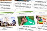 GivingTools screenshot: Show numerous appeals on your giving page. Click one to expand it. Check out once.