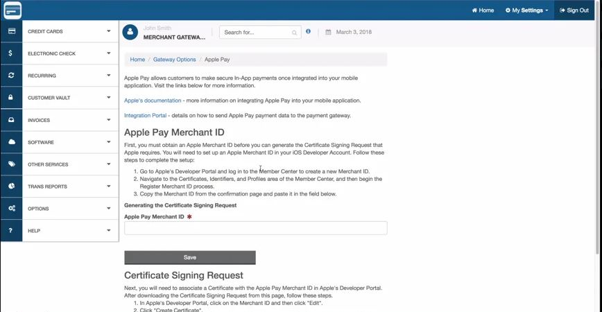 EzPay America Apple Pay configuration