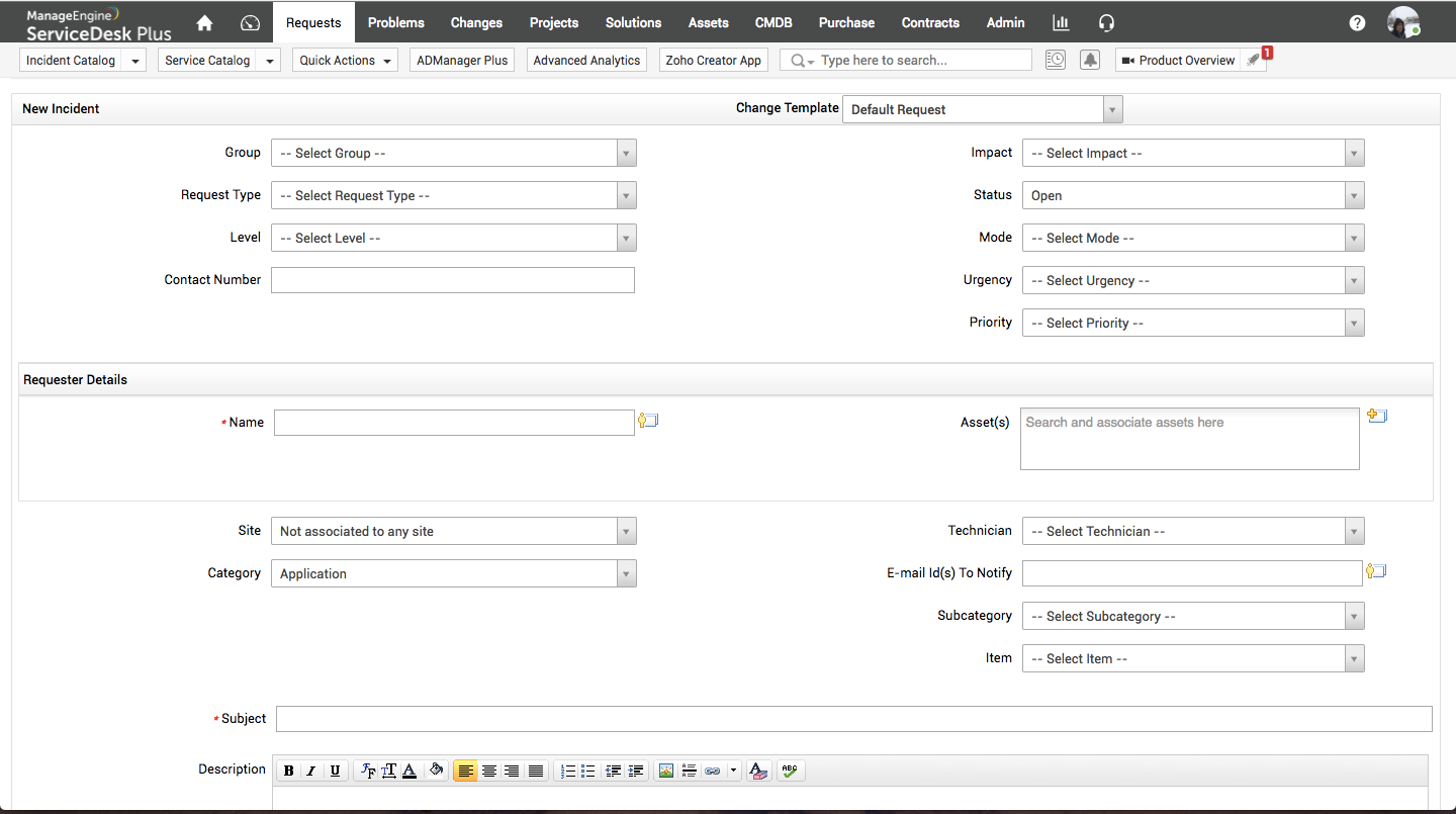 Add requests complete with incident and requester details