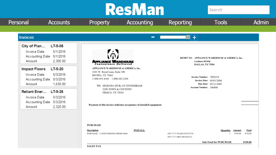 ResMan screenshot: Centralized invoicing and real-time approvals to complete check-runs from multiple entities and bank accounts