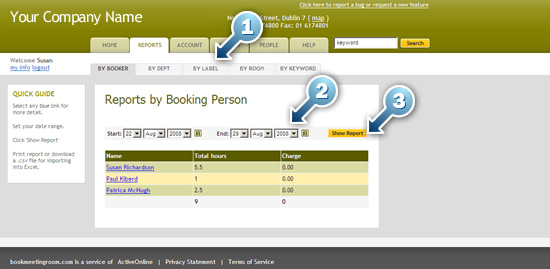 usage reports for room booking