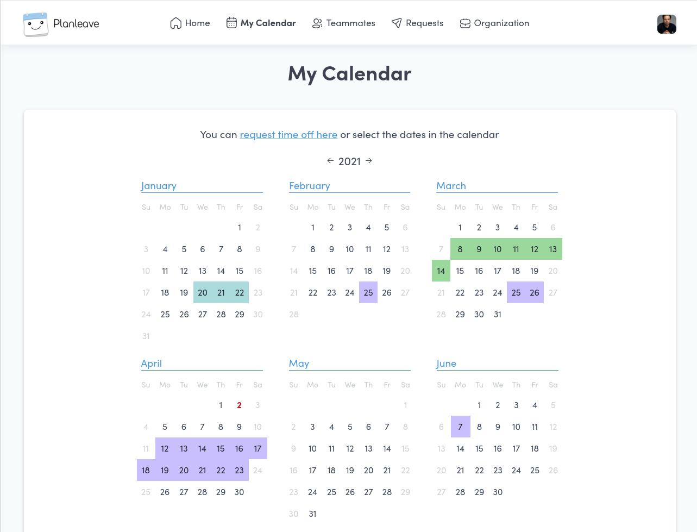 Planleave calendar view