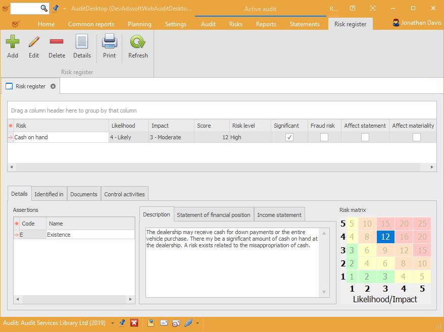 AuditDesktop risk register