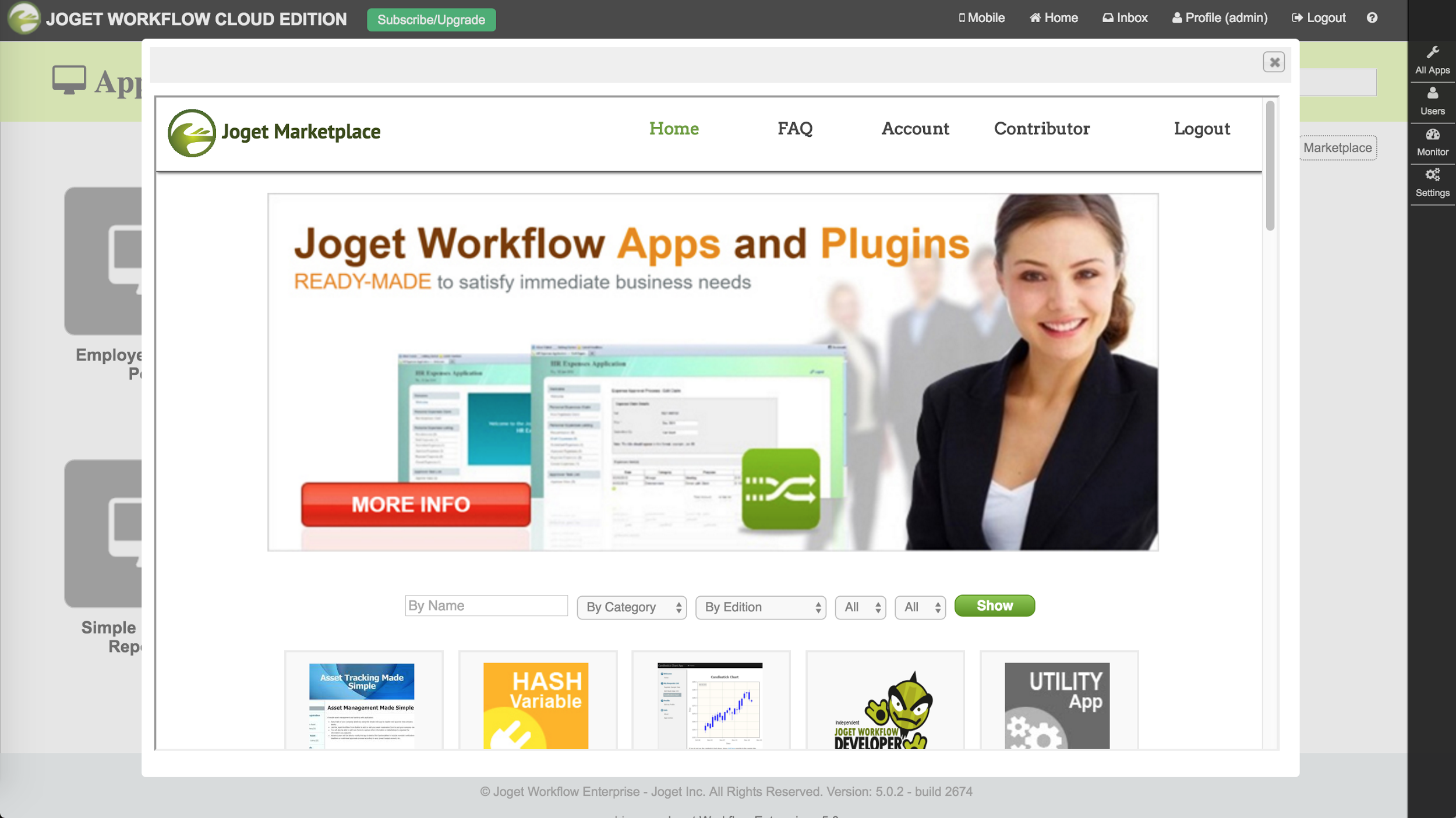 Joget Marketplace: Seamlessly install apps directly from the Joget Marketplace.
