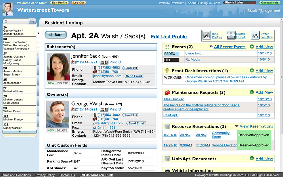 BuildingLink Software - Resident view