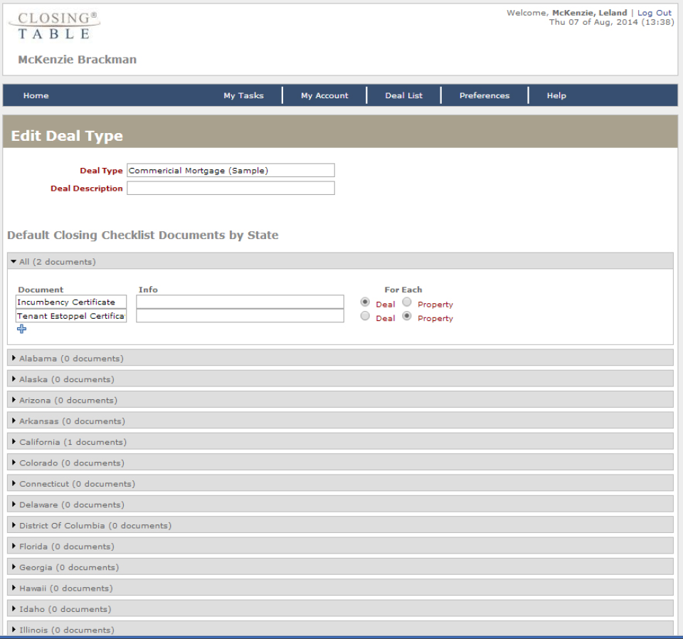 Closing Table users can edit deal type and description, and organize the closing checklist documents by state.