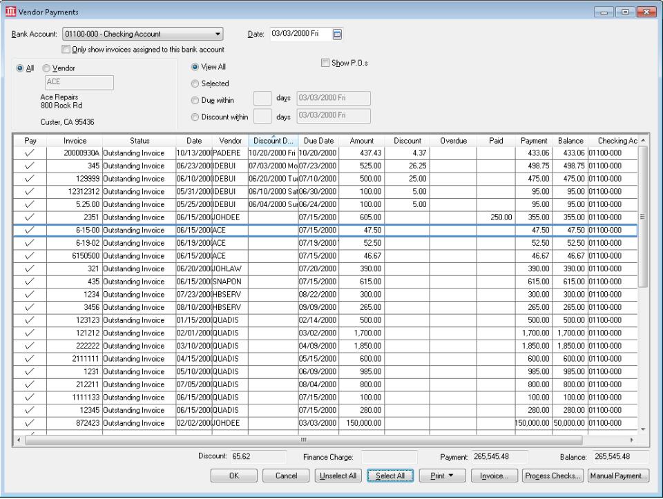 EBMS vendor payments