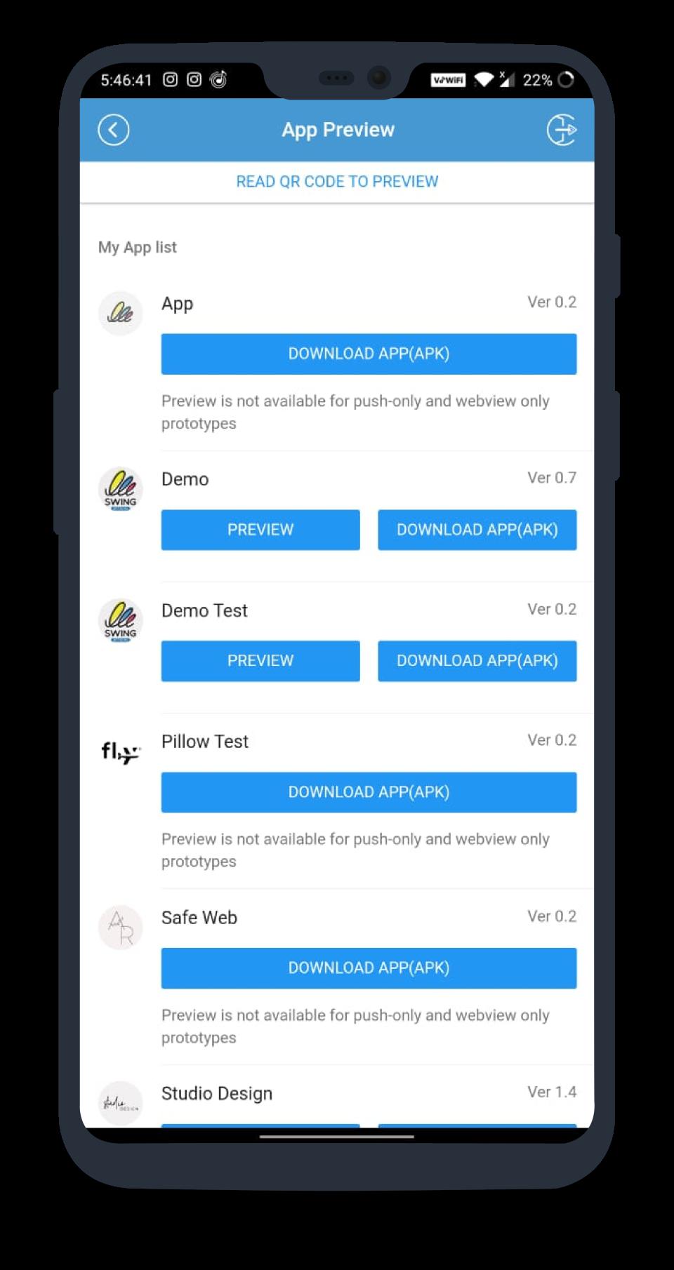 Swing2App list of user apps