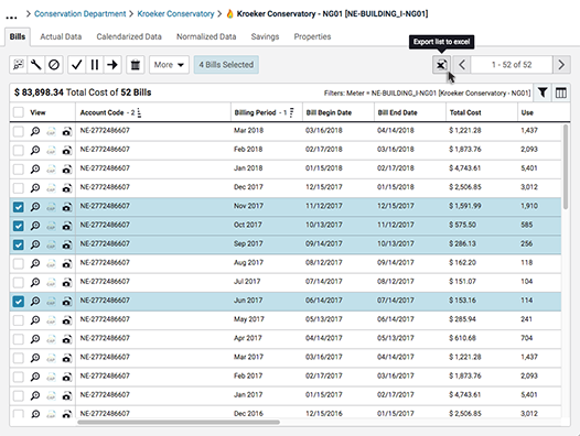 Bill Lists offer a customizable view into subsets of bills found within EnergyCAP's database, with options to filter and sort the items
