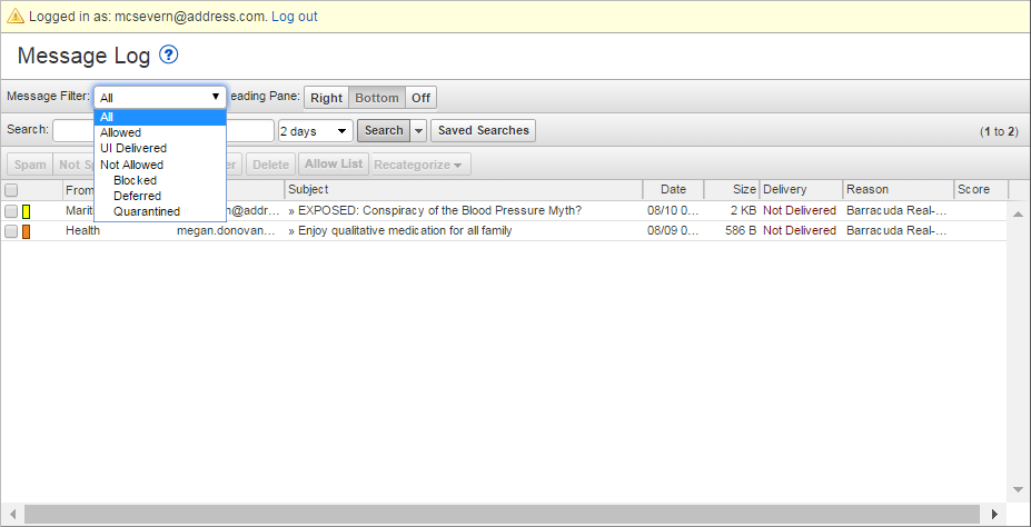 Barracuda Forensics and Incident Response messages