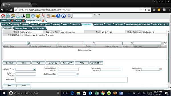 LegalEdge finance dashboard screenshot