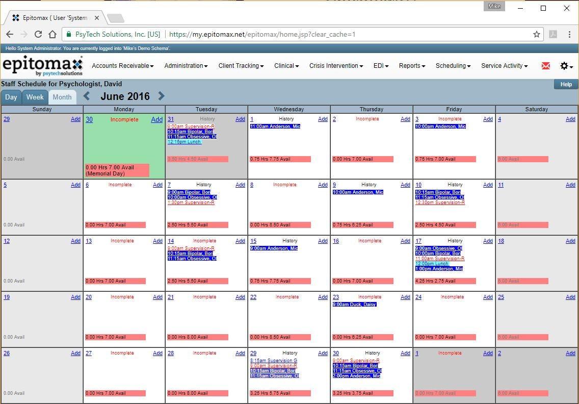 Epitomax Software - Staff schedule
