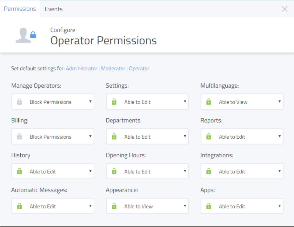 Different permissions can be set for different user roles, with options for operators, moderators, and administrators