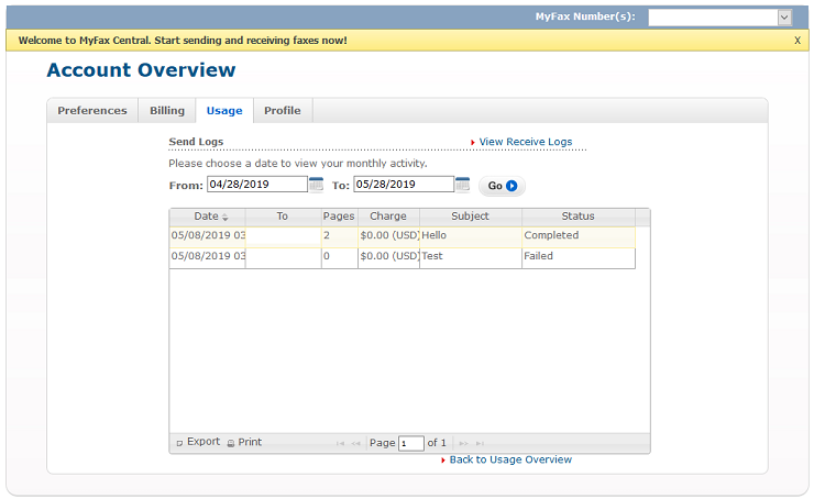 MyFax account overview