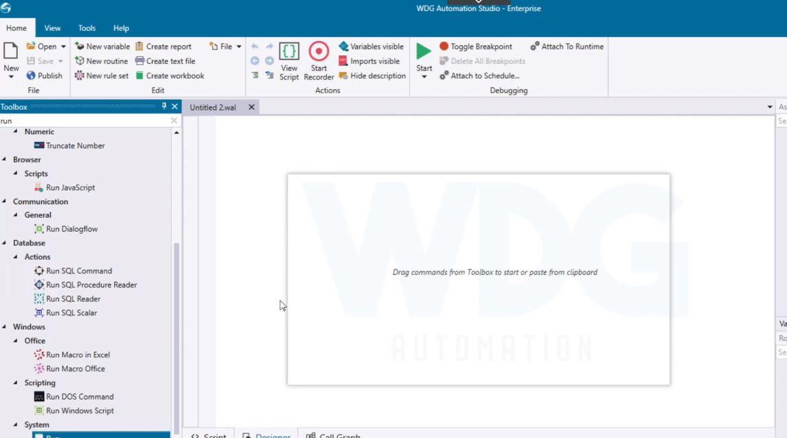 WDG Automation drag commands